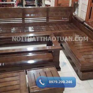 Bộ ghế sofa góc tay trứng mặt nan gỗ sồi Nga SF03