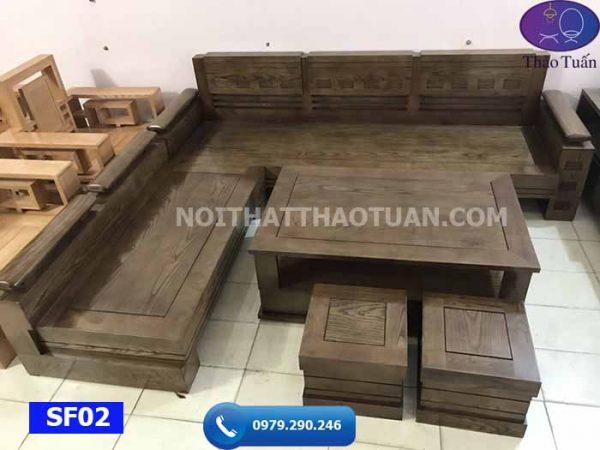 Bộ ghế sofa góc trứng mặt liền gỗ sồi Nga SF02