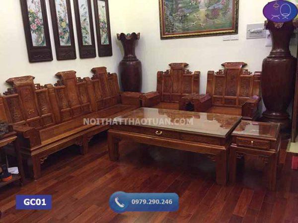 Bộ ghế Âu Á hộp cuốn thư 6 món tay 10 gỗ gõ đỏ GC01