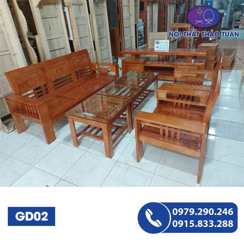Bộ bàn ghế Phúc Lộc Thọ gỗ sồi GD02