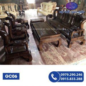Bộ ghế Tần Thủy Hoàng tay 10 6 món gỗ gõ đỏ GC06