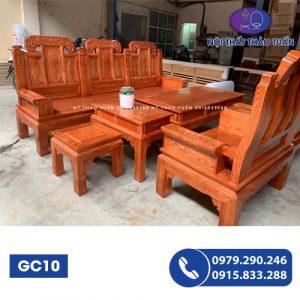 Bộ ghế cuốn thư hộp Âu Á tai voi 6 món cột 10 gỗ hương vân GC10-1