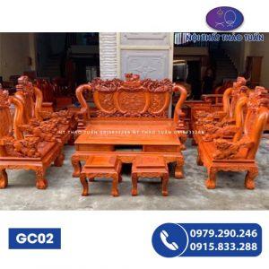 Bộ ghế rồng đỉnh đục vẩy tay chữ C 6 món gỗ xà cừ GC02