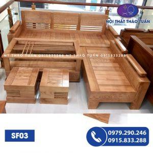 Bộ ghế sofa góc tay trứng mặt nan gỗ sồi Nga SF03-1
