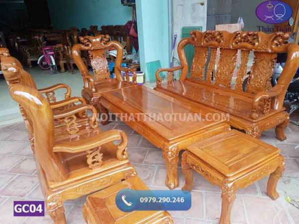 Bộ ghế Minh đào cột 10 gỗ xà cừ GC04