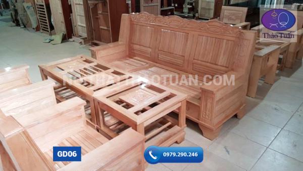 Ghế đối như ý mặt nan gỗ sồi kích thước 230cm