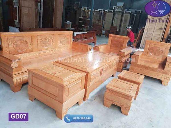 Bộ ghế đối pháo gỗ sồi Nga GD07