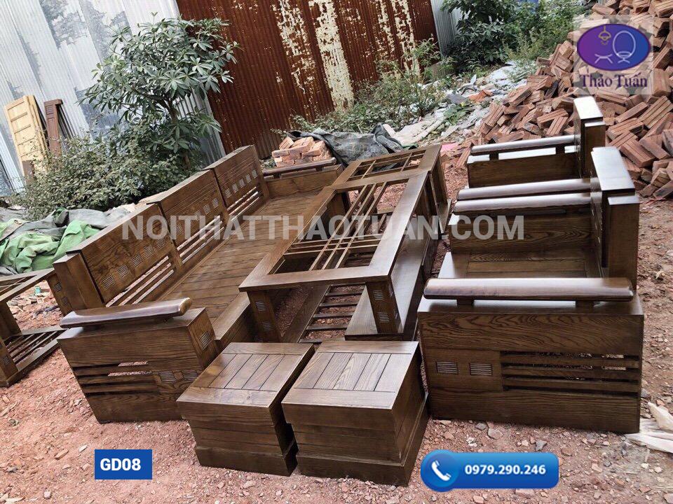 Ghế đối tay chồng trứng mặt nan gỗ sồi 230cm