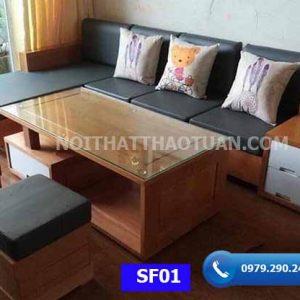 Bộ ghế sofa hộp 3 ngăn kéo gỗ sồi Nga SF01