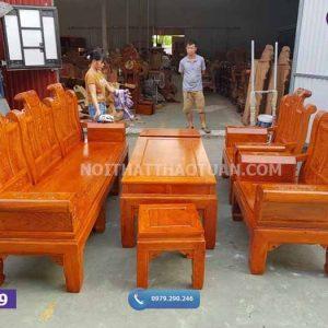 Bộ ghế cuốn thư 6 món cột 10 gỗ hương đá GC09