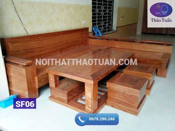 Sofa góc L tựa và mặt liền KT 2400x2000 gỗ hương xám
