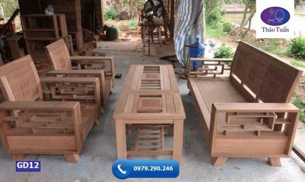 Bộ ghế đối gỗ tựa cong xoan đào GD12
