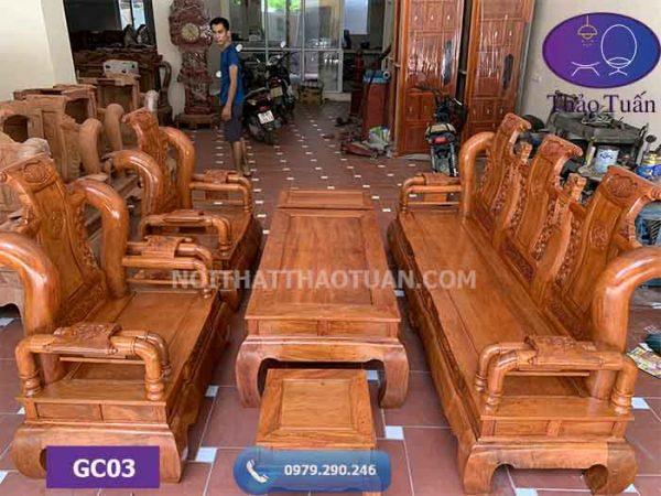 Bộ ghế Tần Thủy Hoàng cột 12 hàng cột liền 6 món gỗ hương đá GC03
