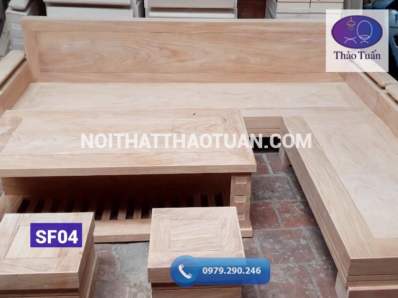 sofa góc chữ L gỗ gõ SF04
