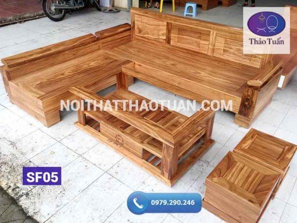 sofa góc chữ L tay nghiêng gỗ hương xám
