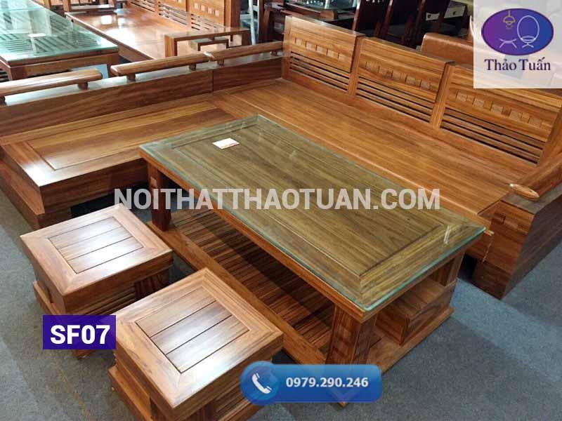 sofa góc mặt liền tựa đục gỗ hương xám