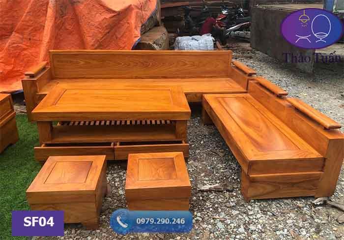 Bộ ghế sofa góc trứng gỗ gõ đỏ SF04