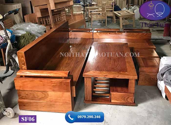 Bộ sofa góc chữ L tay trứng tựa mặt liền gỗ hương xám SF06