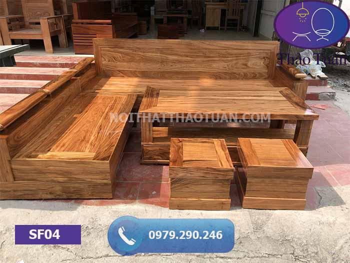 Bộ ghế sofa góc chữ L gỗ hương xám đen SF04
