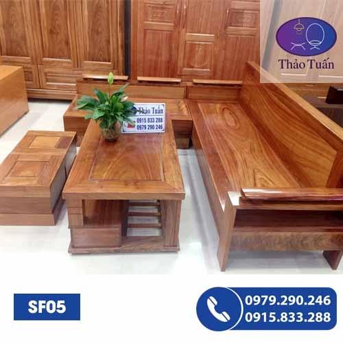 sofa gỗ hương xám sf05