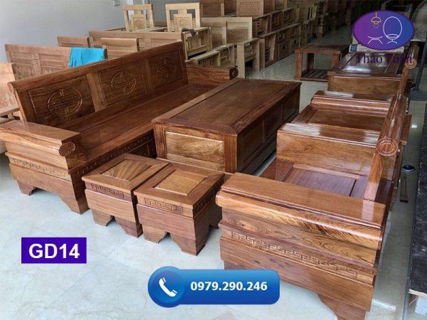 Bộ ghế đối pháo gỗ hương xám vàng GD14-org