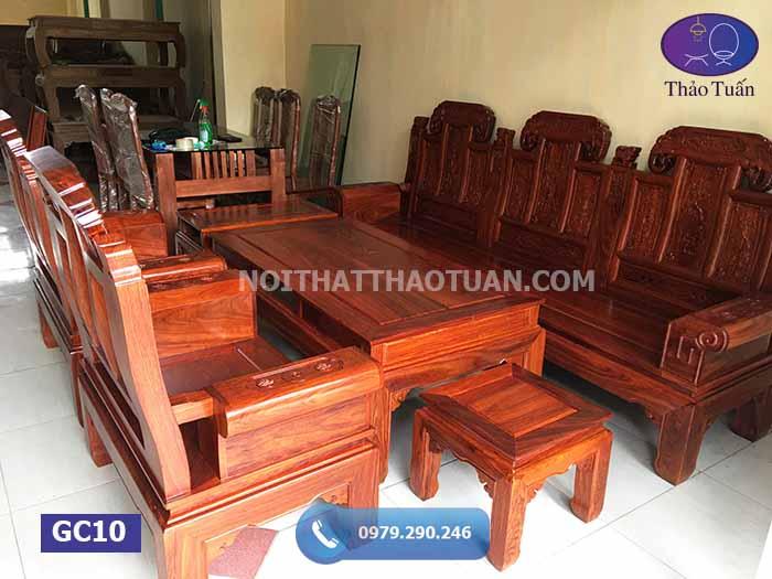 Bộ ghế cuốn thư hộp Âu Á tai voi 6 món cột 10 gỗ hương vân GC10