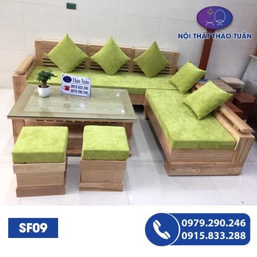 Bộ ghế Sofa góc trứng mặt liền gỗ xoan đào SF09
