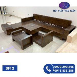 Bộ ghế sofa ngăn kéo vát gỗ xoan đào SF12