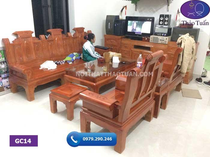 Combo ghế cuốn thư và kệ tivi gỗ sồi Nga GC14