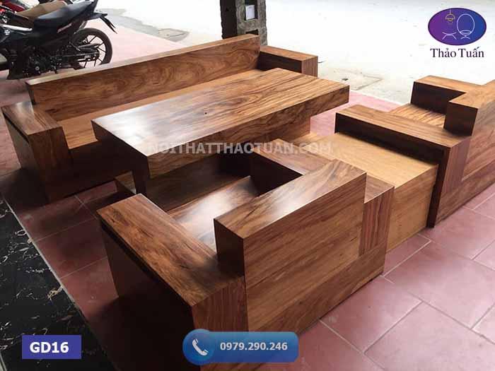 Bộ ghế đối hộp gỗ hương xám GD16