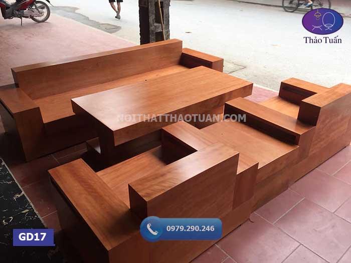 Bộ ghế đối hộp gỗ xoan đào GD17