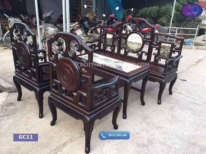 Bộ bàn ghế móc mỏ gỗ gụ tựa là mặt đá GC11