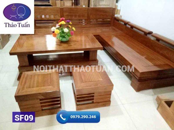 Sofa góc trứng mặt liền gỗ xoan đào 2400x2000-1
