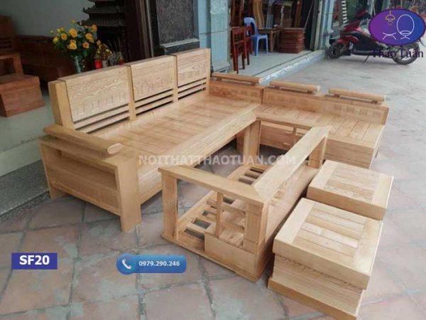 Bộ ghế sofa góc trứng nhỏ gỗ sồi Nga SF20