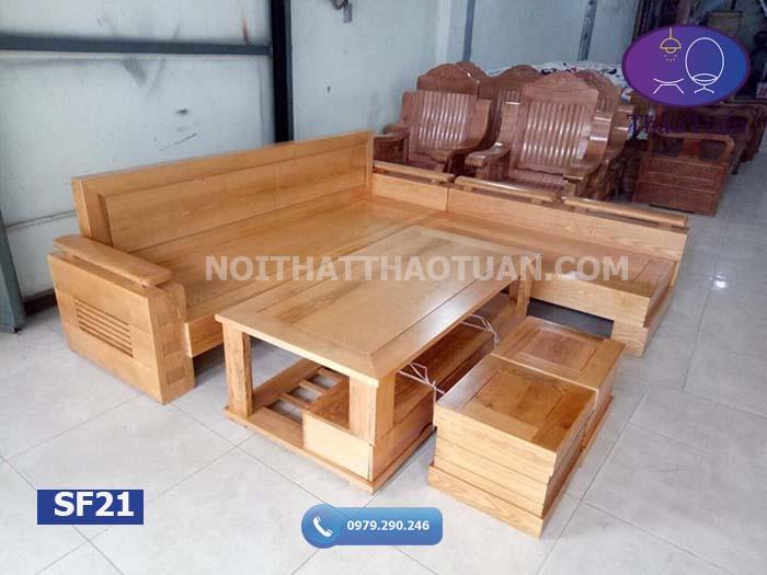 Bộ ghế sofa góc trứng tựa và mặt liền gỗ sồi Nga SF21