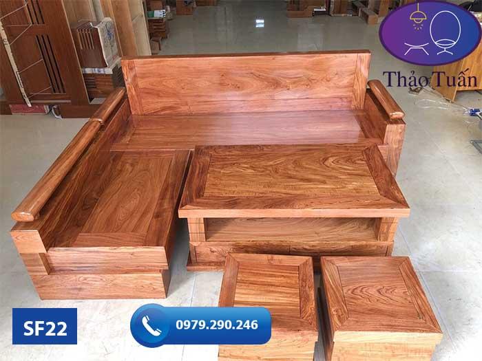 Bộ sofa tay trứng tựa liền gỗ hương xám đá SF22