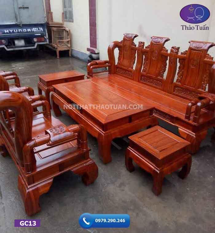 Bộ ghế Tần Thủy Hoàng gỗ hương vân tay 10 GC13