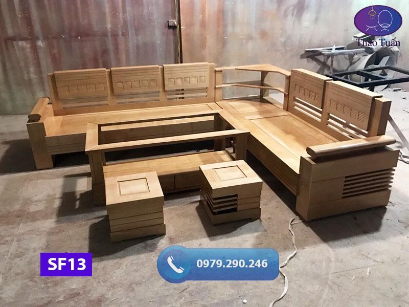 Bộ ghế sofa góc để lọ hoa gỗ sồi Nga SF13