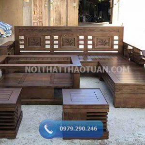 Bộ ghế sofa tay chéo góc lá me mặt nan gỗ sồi Nga SF17