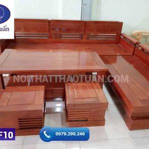 Bộ ghế sofa góc tay trứng gỗ xoan đào SF10