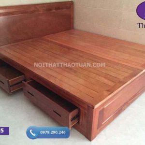 Giường ngủ 2 ngăn kéo gỗ xoan đào GN05