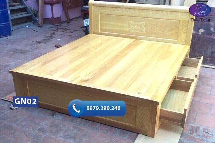 Giường ngủ 2 ngăn kéo gỗ sồi Nga GN02-org-1