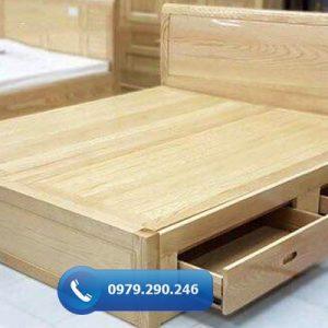 Giường ngủ 2 ngăn kéo gỗ sồi Nga GN02-org