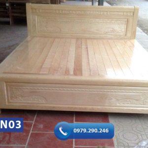 Giường ngủ kiểu đơn giản gỗ sồi Nga GN03-org