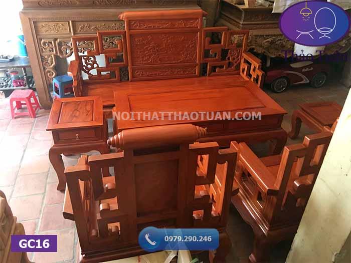 Bộ bàn ghế sơn thủy 6 món gỗ gõ đỏ GC16