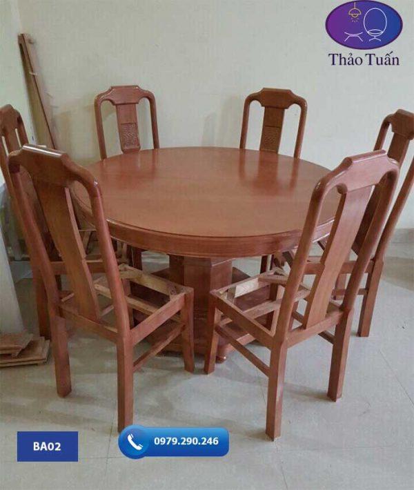 Bộ bàn ghế ăn hình tròn 6 ghế gỗ sồi Nga BA02