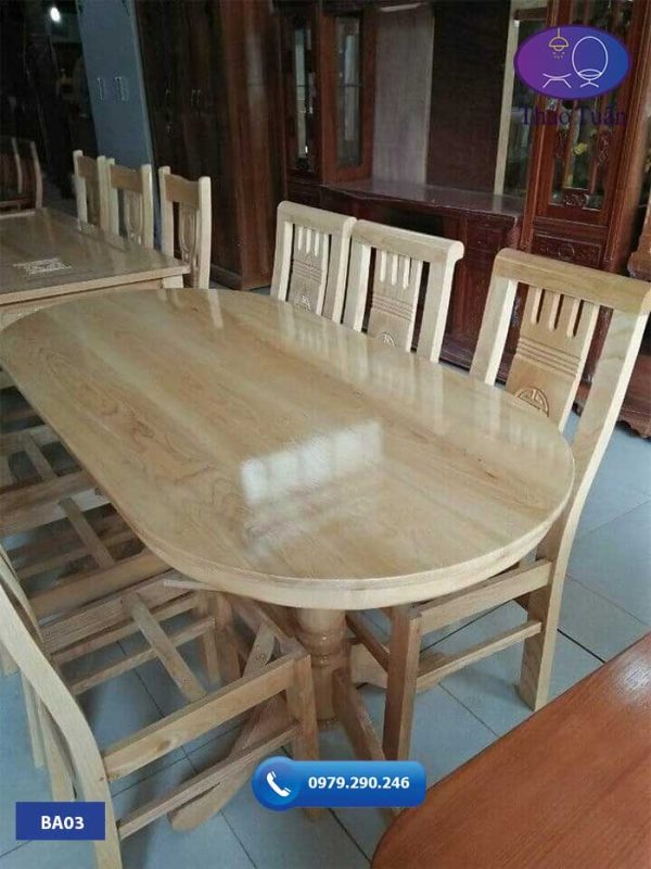 Bàn ăn 6 ghế hình bầu dục gỗ sồi Nga BA03