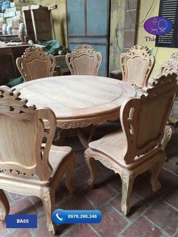 Bàn ăn 6 ghế hình tròn gỗ gõ đỏ BA05
