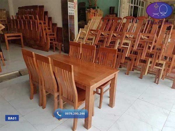 Bàn ăn 6 ghế chữ nhật gỗ sồi Nga BA01
