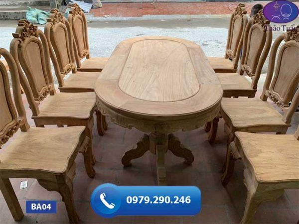 Bàn ăn 8 ghế hình bầu dục gỗ gõ đỏ cao cấp BA04